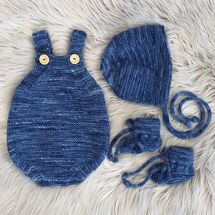 Ocean Blue Romper Set With Hat and Booties