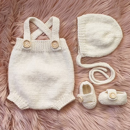 Beautifully Classic Romper Set With Booties and Bonnet in Cream