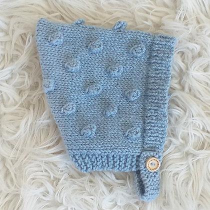 A Sweet Bonnet in Fog Blue - Pure New Zealand Wool - Hand Made