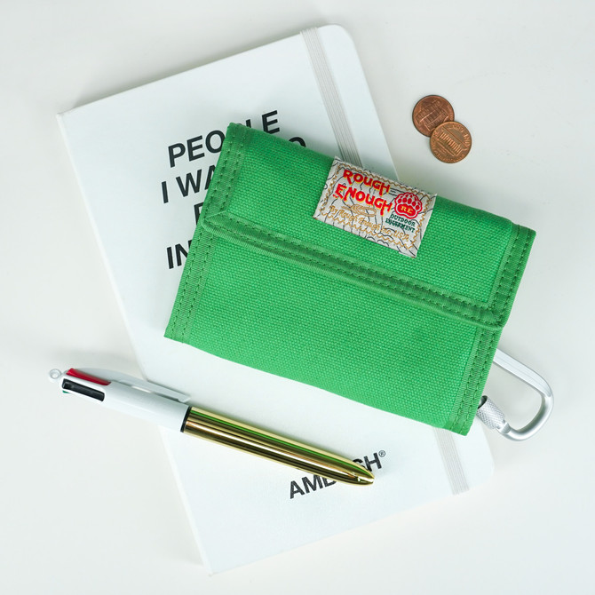Rough Enough Bifold Green Canvas Front Pocket Credit Card Wallet for Men Women Teen Boy Girl with Co