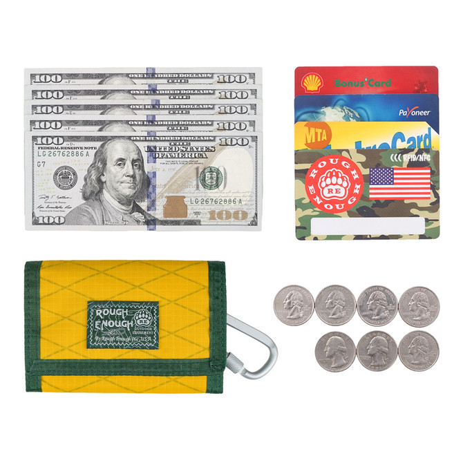 Rough Enough Trifold Yellow Green Front Pocket Teen Wallet for Boys Men Kids Girls Women Credit Card