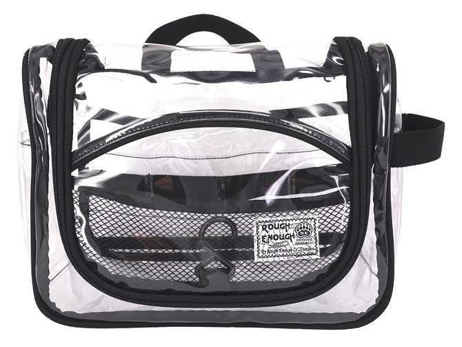 Rough Enough Vinyl Zippered Luggage Toiletry Carry Pouch Travel Cosmetic Makeup Bag Clear Bag