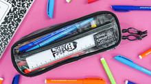 Rough Enough Clear Pencil Case with Compartments for Boys Adults Long Pen Bag TSA Organizer Pouch St