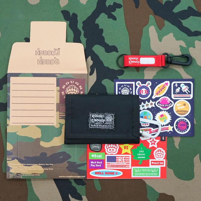 Rough Enough Trifold Black Mini Front Pocket Teen Wallet for Boys Men Kids Girls Women Credit Card H