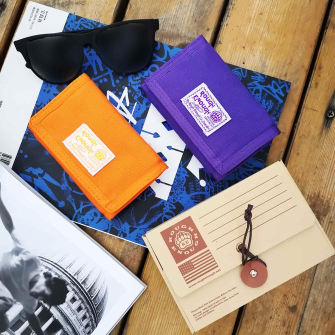 Rough Enough Small Canvas Orange Wallet Coin Purse Pouch Organizer Card Holder with Zipper Pocket an