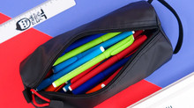 Rough Enough Black Colored Big Pencil Case Organizer Bag Tool Pouch for Adults Boys Girls Teen with