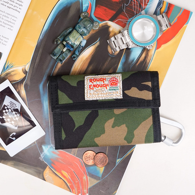 Rough Enough Canvas Bifold Men Card Front Pocket Wallet Change Coin Purse Holder in Camo Military Or