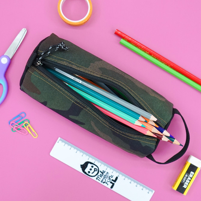 Rough Enough Small Pencil Case Pouch Holder Bag Box for Adults Girls Boys with Zipper and Name Tag L