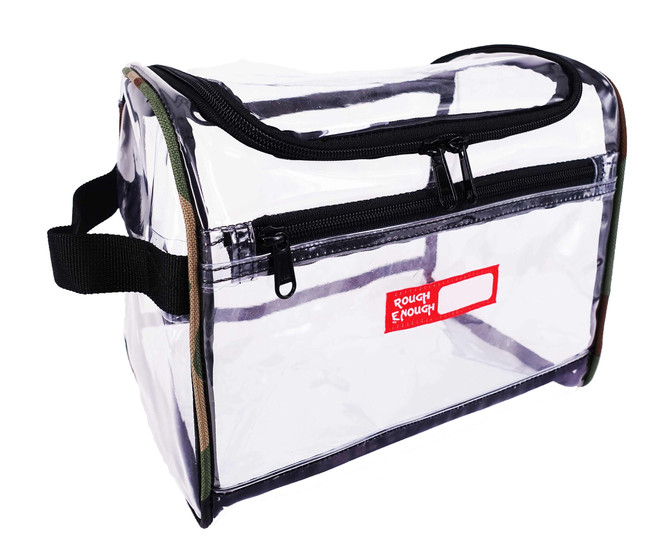 Rough Enough Transparent Large Capacity Toiletry Bag Big Volume Zippered Luggage Toiletry Travel Cos