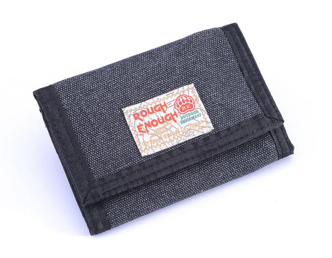 Nice tri-fold canvas wallet in black