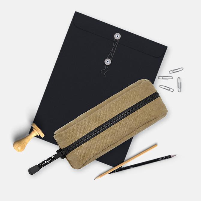 Rough Enough Canvas Large Big Zipper Pencil Case Organizer Bag EDC Pouch for Boys Girls Teen Adults