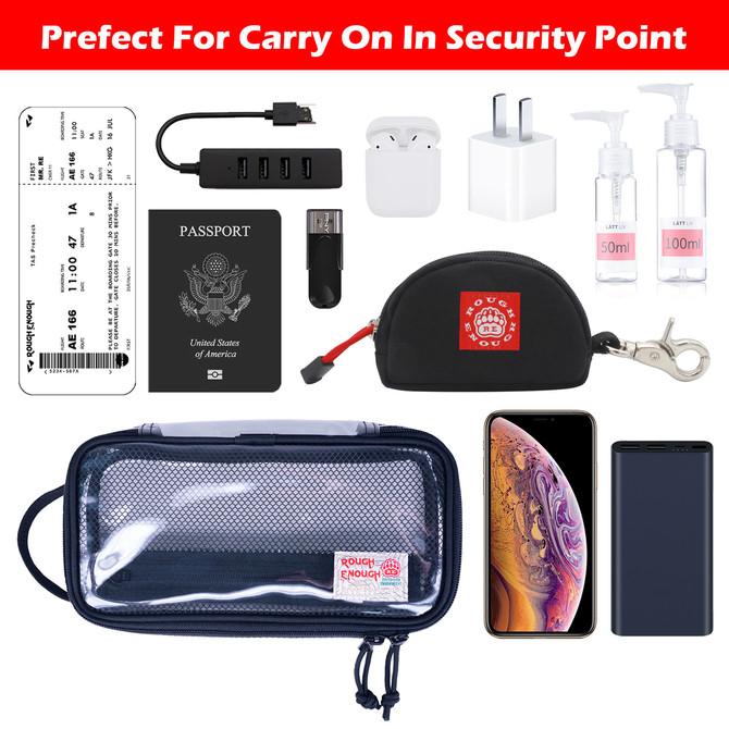 Rough Enough Clear Toiletry Bag Makeup Bag Organizer Zipper Pouch Case Wash Bag TSA Approved Laptop