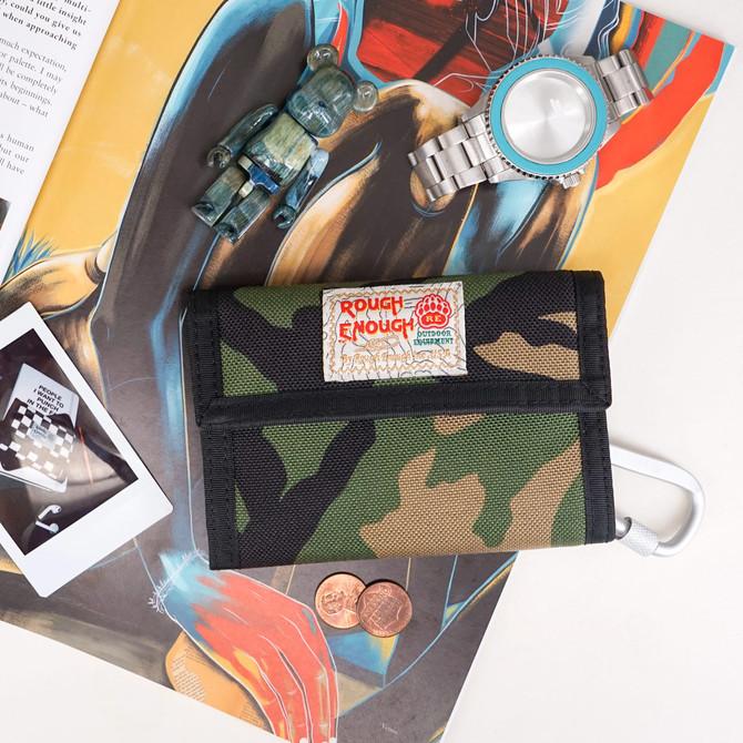 Rough Enough Bifold Camo Green Canvas Mens Boys Teen Wallet Coin Purse with Zipper Credit Card Holde