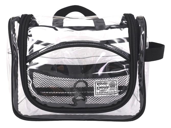 Rough Enough Transparent Vinyl Zippered Toiletry Makeup Bag for Travel Trip Men Women