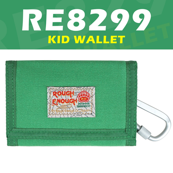 Rough Enough Trifold Green Canvas Kids Teen Wallet for Boys Girls with Zipper Coin Purse Credit Card