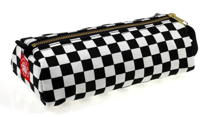 ROUGH ENOUGH Checked Pattern Classic Vintage Stationary Durable Canvas Big Pencil Case Pen Bag Large