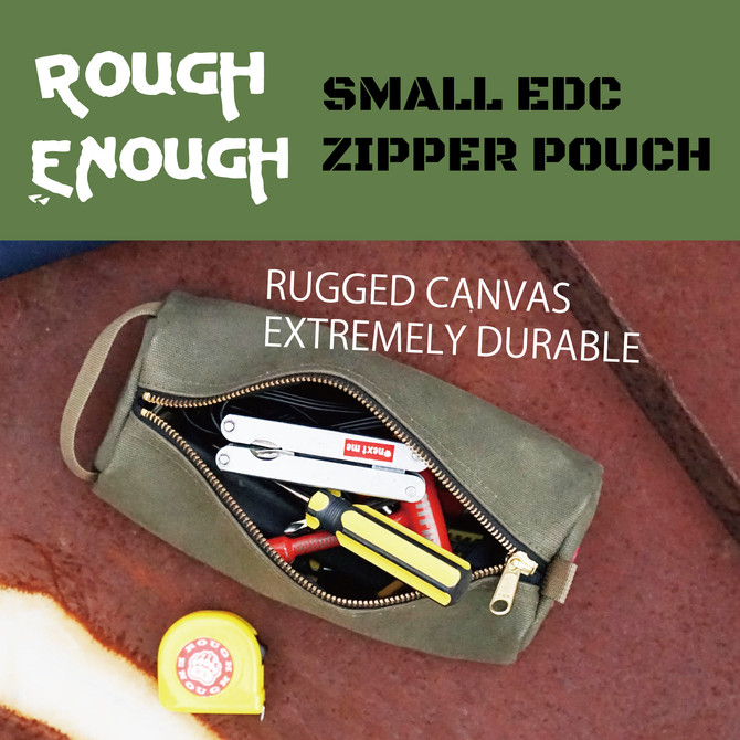 Rough Enough Canvas Small Tool Bag Zipper Multi Tools Pouch Big Pencil Case Stationary Organizer Poc