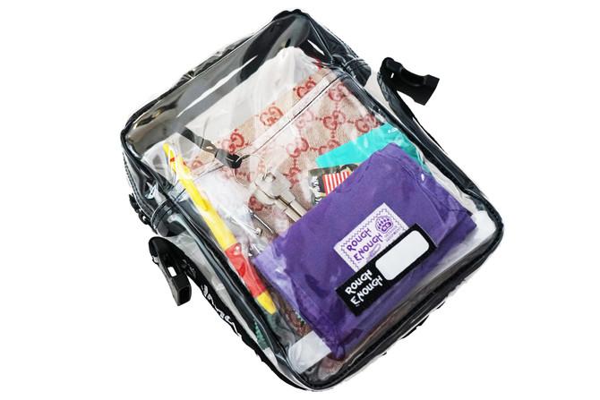 Rough Enough TSA Transparent Fashion Tote Pouch Organizer Large Satchel Daypack NFL Clear Stadium Cr