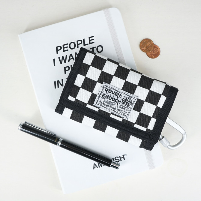 Rough Enough Canvas Boys Girls Men Women Kids Checkered Wallet Front Pocket Wallet Credit Card Holde
