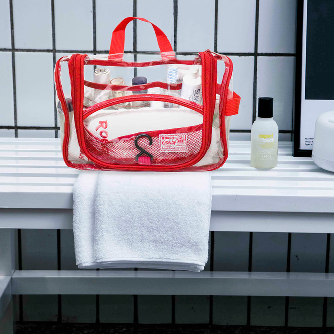 Rough Enough Clear Hanging Travel Toiletry Bag for Women Makeup Bag Organizer Cosmetic Bag Case TSA