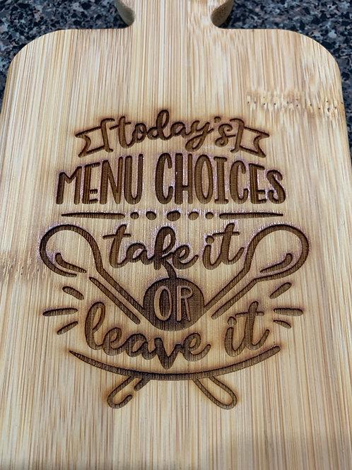 Menu Choices Cutting Board