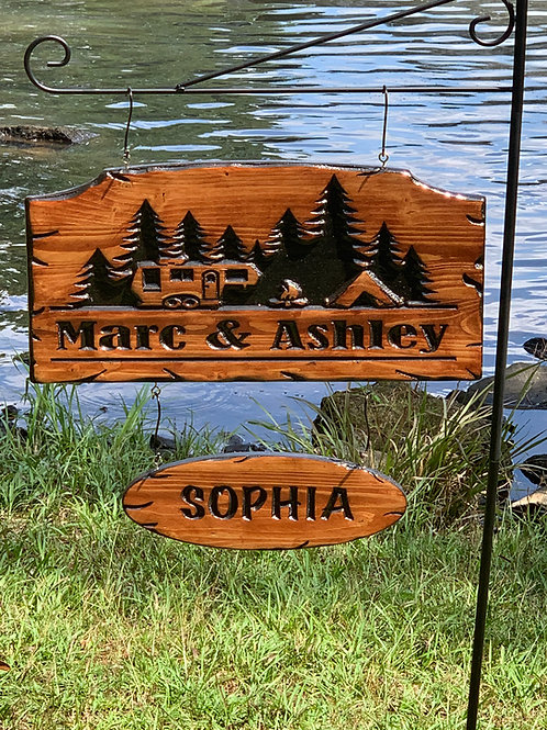Engraved Camper Sign with Trees