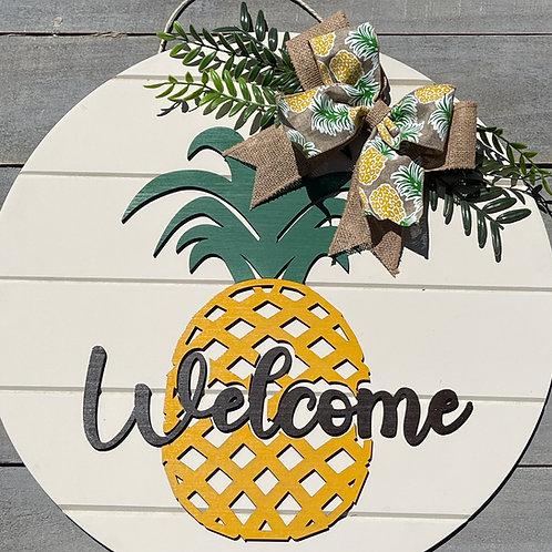 Pineapple Welcome Sign, Pineapple Decor, Pineapple Door Wreath, Summer Door Sign
