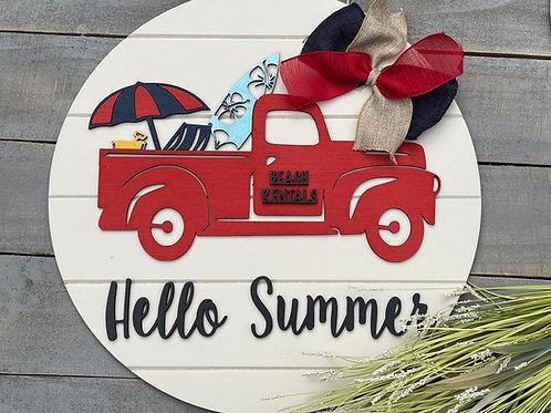 Summer Door Sign, Summer Wreath, Beach Sign, Vintage Truck Summer Sign