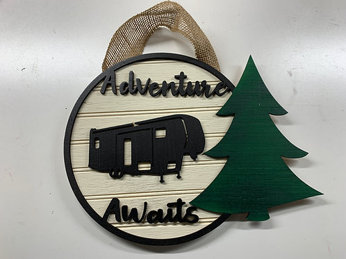 Adventure Awaits Small Camper Sign