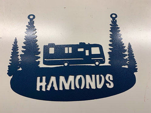 Metal Camper with Tree Name Sign