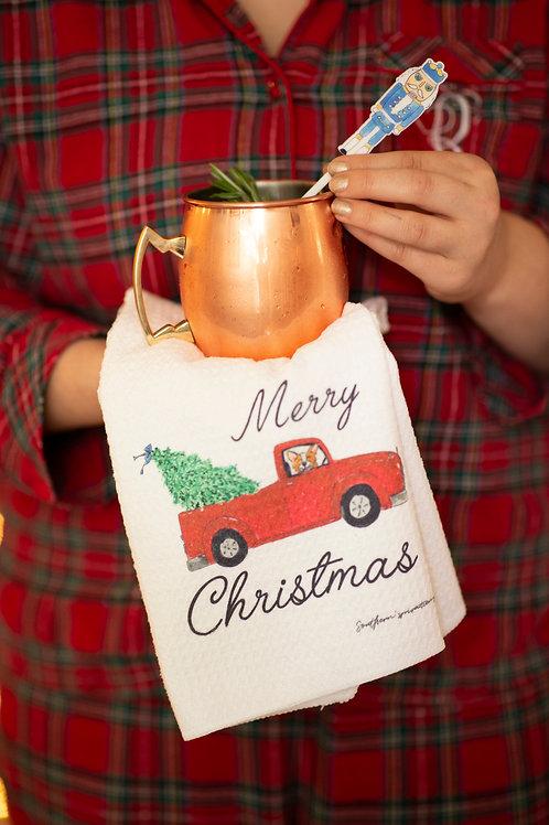 Christmas Red Truck Dishtowel