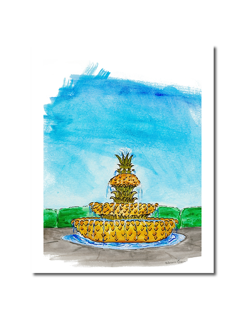 Pineapple Fountain Print
