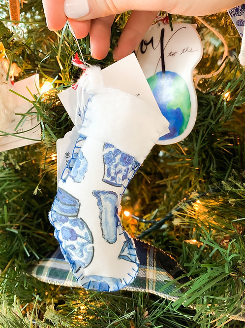 Blue and White Stocking Ornament