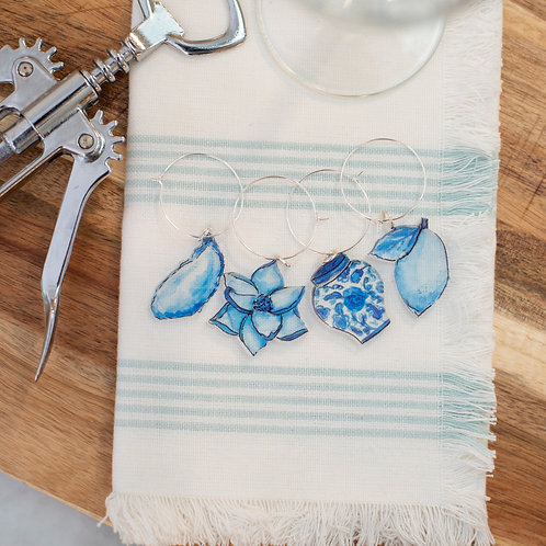 Set of 4 Blue and White Wine Charms