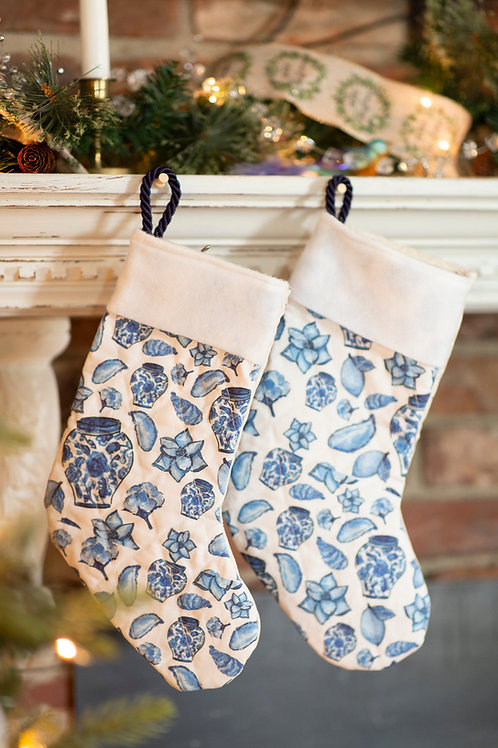 Blue and White Stocking