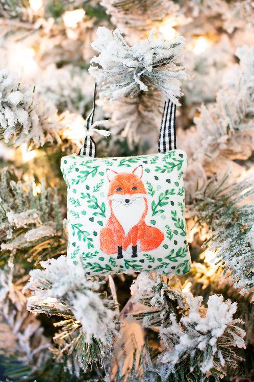 Watercolor Fox Mini Pillow Ornament