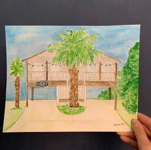 Landmark Beach House Watercolor
