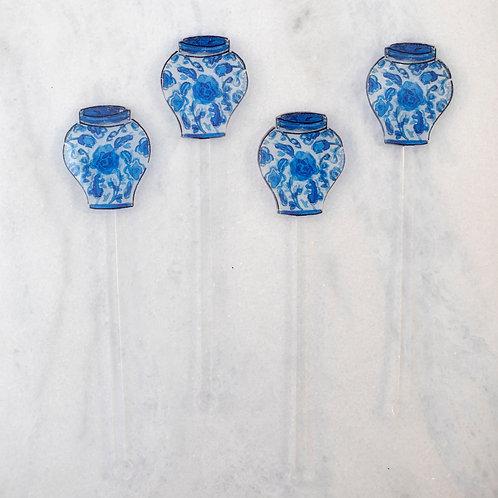 Set of 4 Ginger Jar Acrylic Stirrers