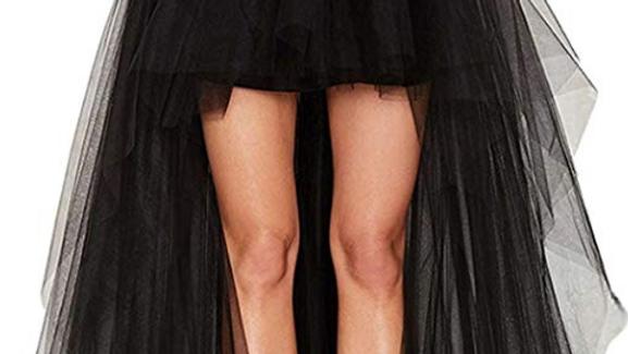 BLACK MESH BRIDE DRESS TAIL TUTU