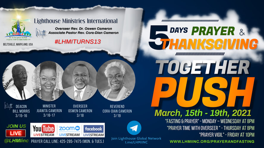 5 days fasting and prayer_March 15-19 20