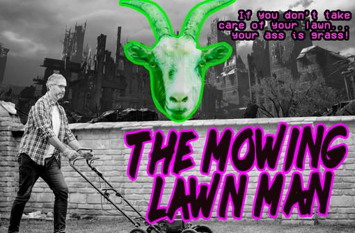 Mowing Lawn Man