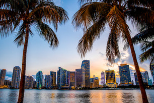 Miami, Florida skyline and bay at sunset