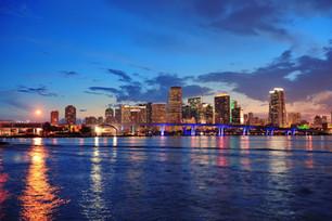 Miami city skyline panorama at dusk with