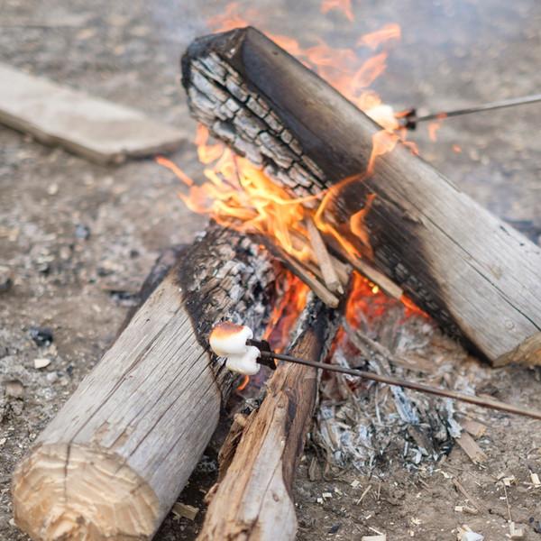 S'mores grilles på bål av drivved fra Sibiria