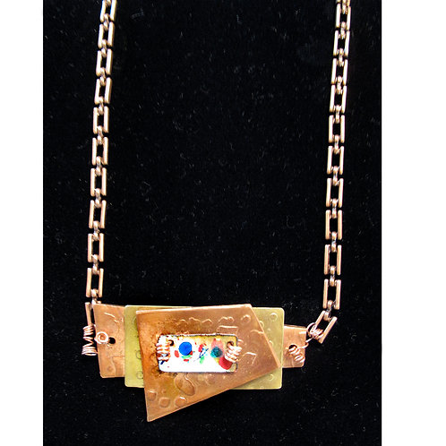 Acid Etched Necklace in Copper and Brass