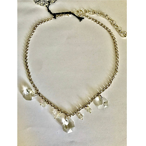 Vintage Crystal and Silver Plate Chain Necklace