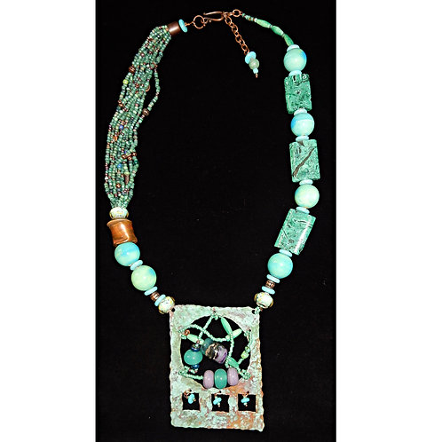 Hammered Copper with Turquoise Necklace