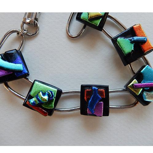Raised Fused Dichroic glass bracelet