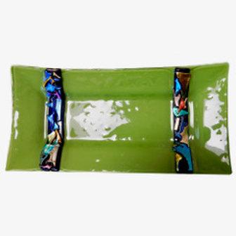 Fused Glass Green Platter w Dichro