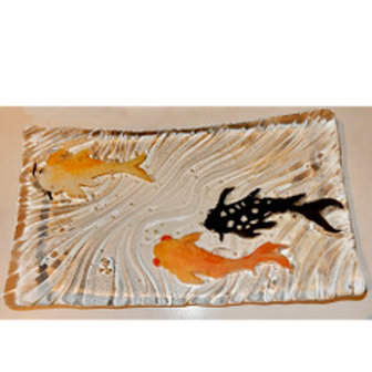 Glass Platter with Painted Koi